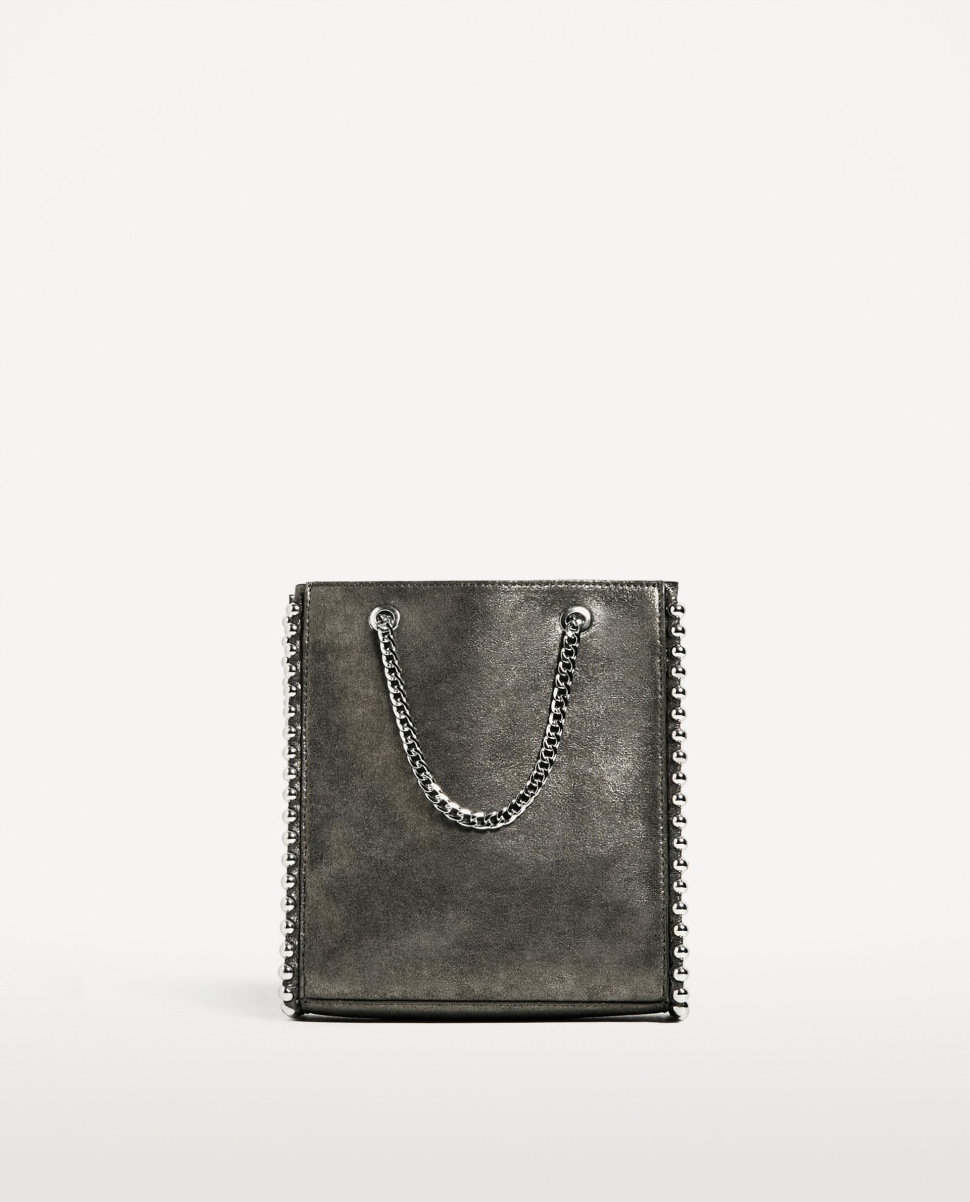 432d729f0a60e Zara mini torebka shopper z ćwiekami - 7364513935 - oficjalne ...