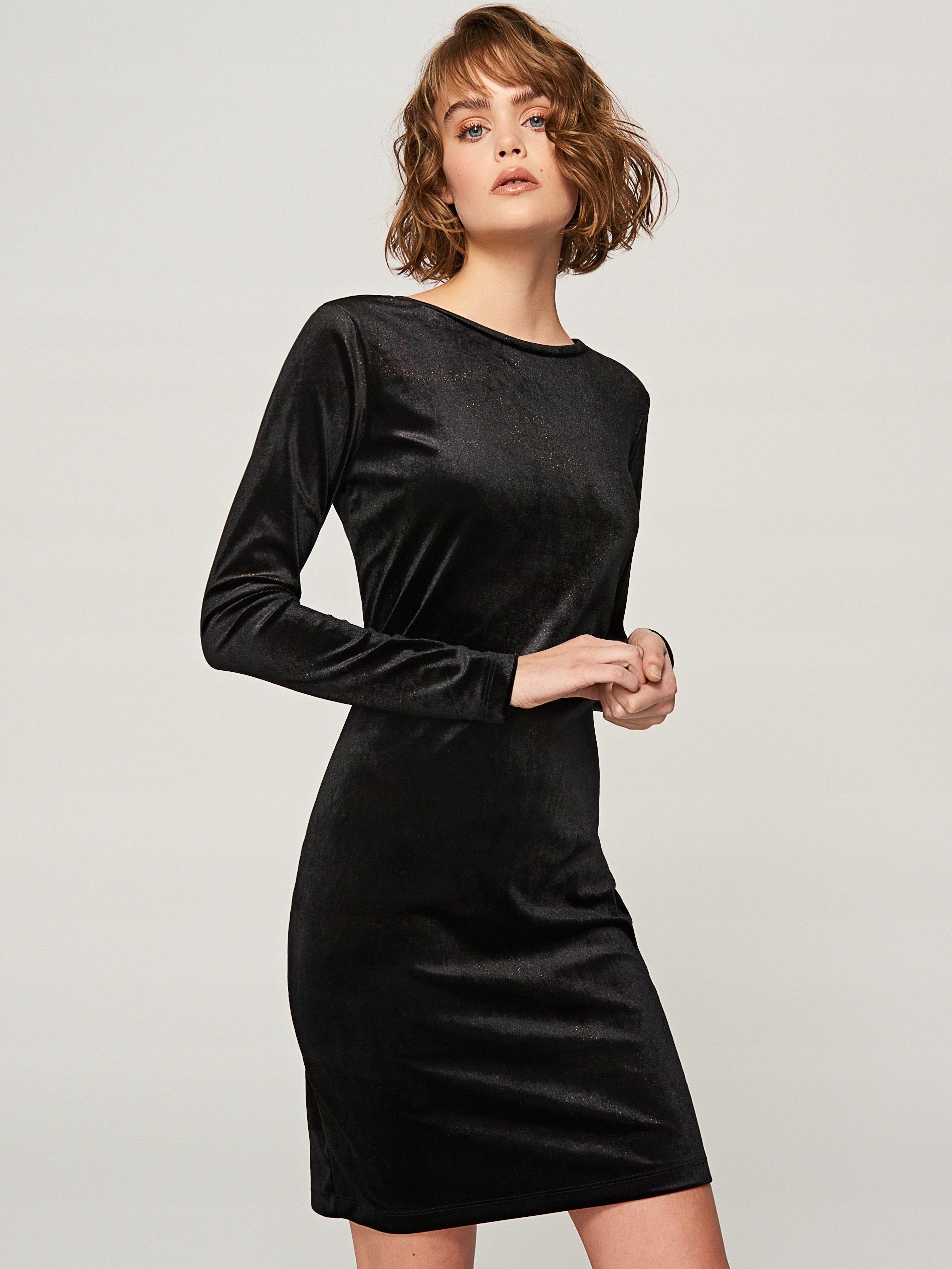 2cac094f RESERVED sukienka czarna welur 40 L NOWA Święta