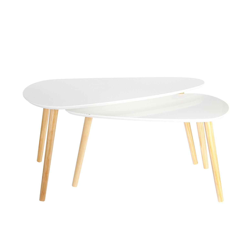 182c7 Dwa Stoliki Do Salonu Białe Z Drewnem