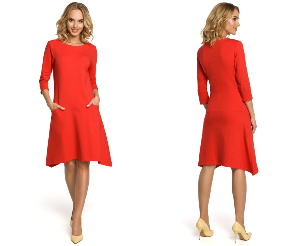 58106ad3f4 Elegancka trapezowa sukienka z dzianiny do pracy - 7016972057 ...