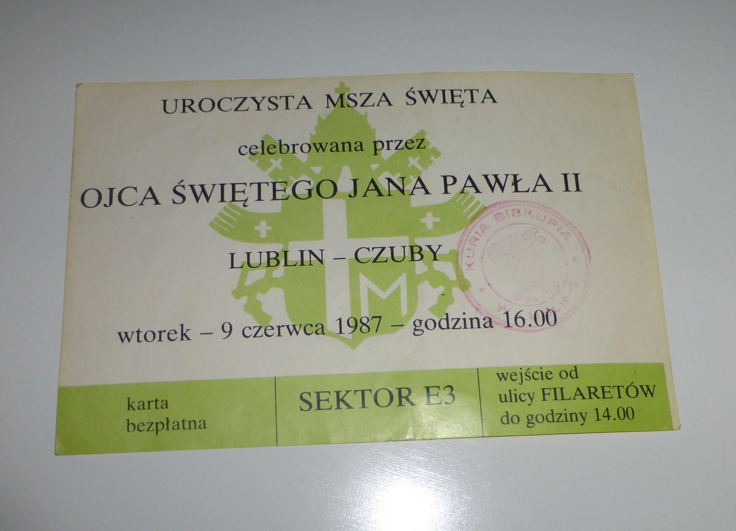 Msza Zaproszenie Jan Paweł Ii Lublin Sektor E 1987 7227467460