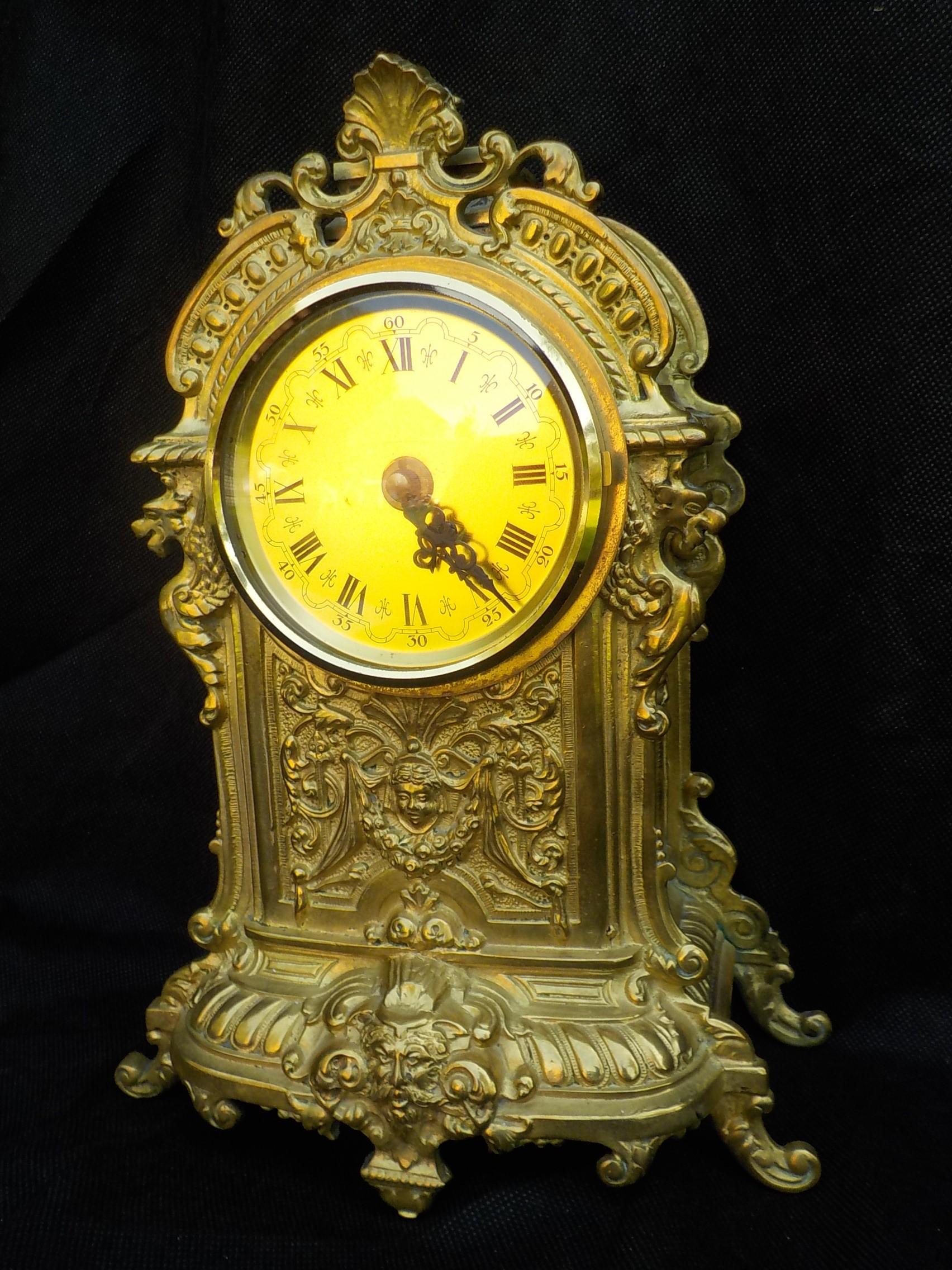 Stary Zegar Kominek Francja Złocony
