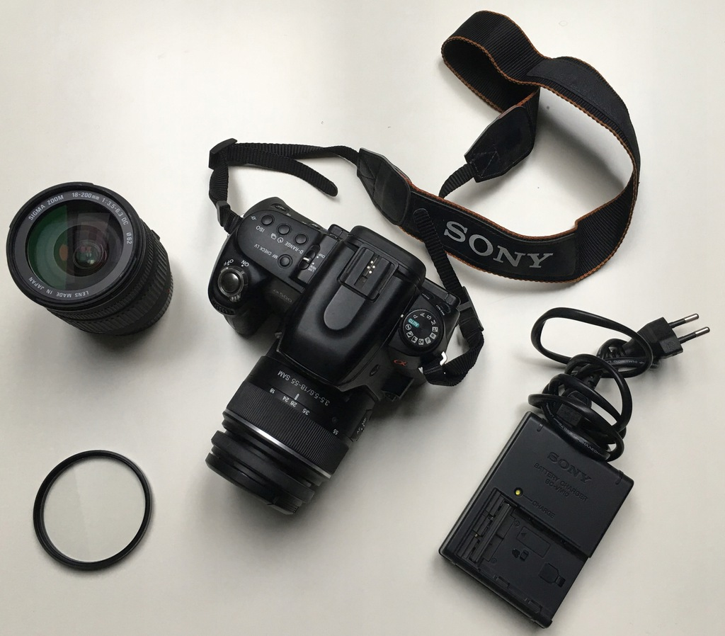 Sony Alfa 500 Dslr A500 18 55 Sam Sigma Dc 18 200 7635989328 Oficjalne Archiwum Allegro