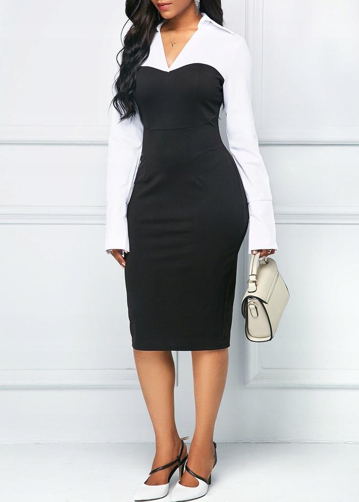 599 Sukienka czarno biała długi rękaw midi