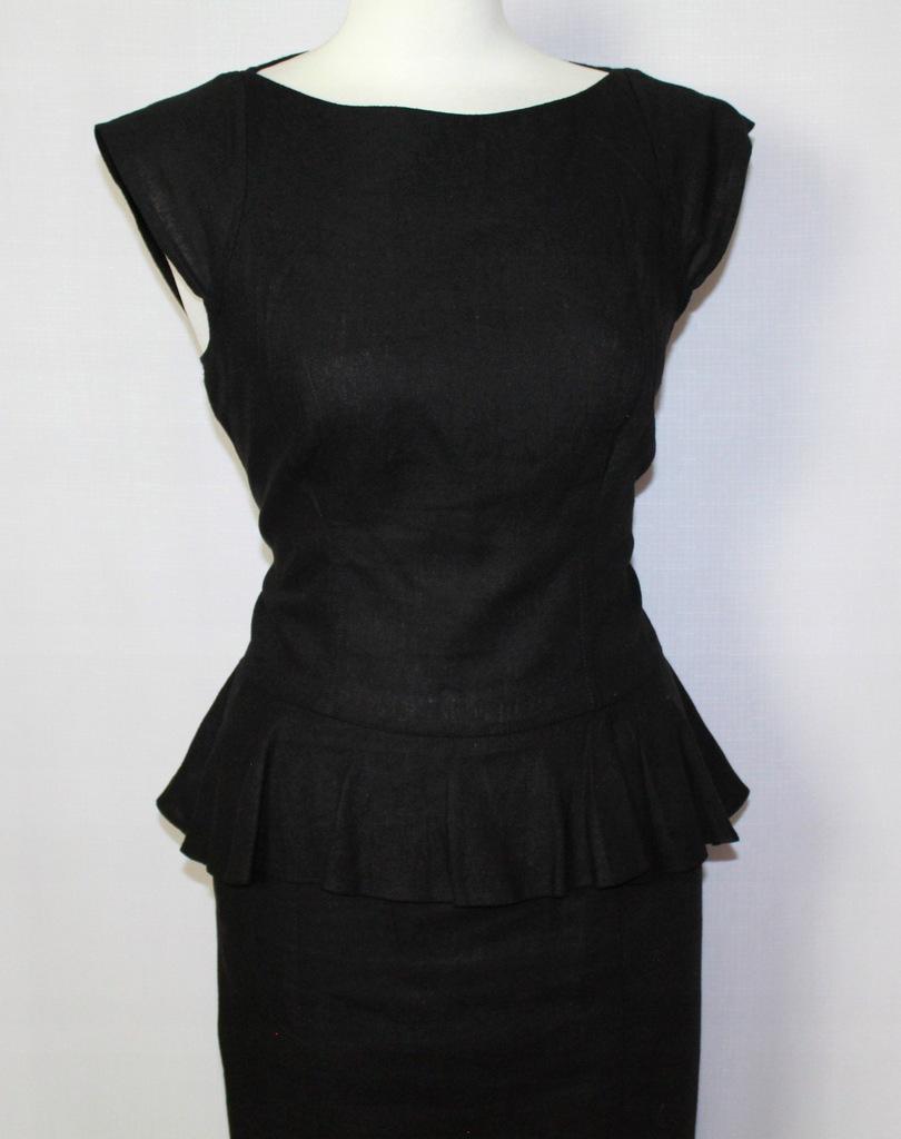 Lniana czarna sukienka z baskinką F&F 42XL14