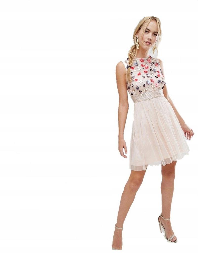 sukienka MINI nude TIULOWA zdobiona XXL 44