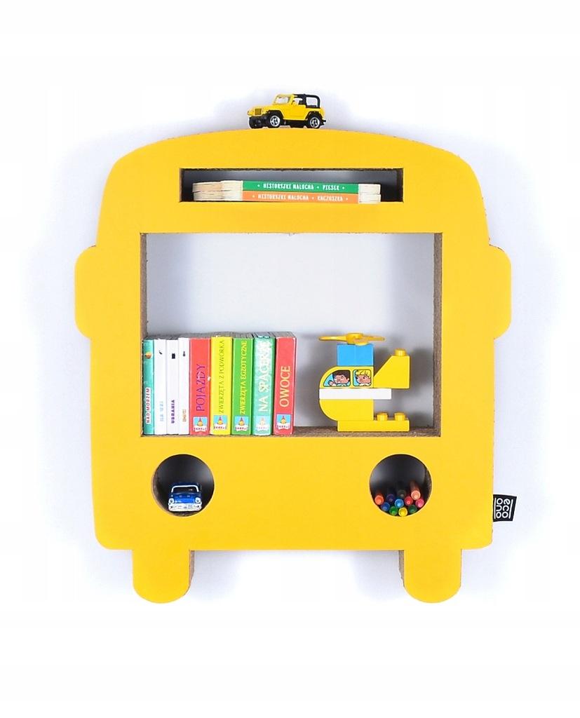 Półka na książki zabawki BUS eco | żółty