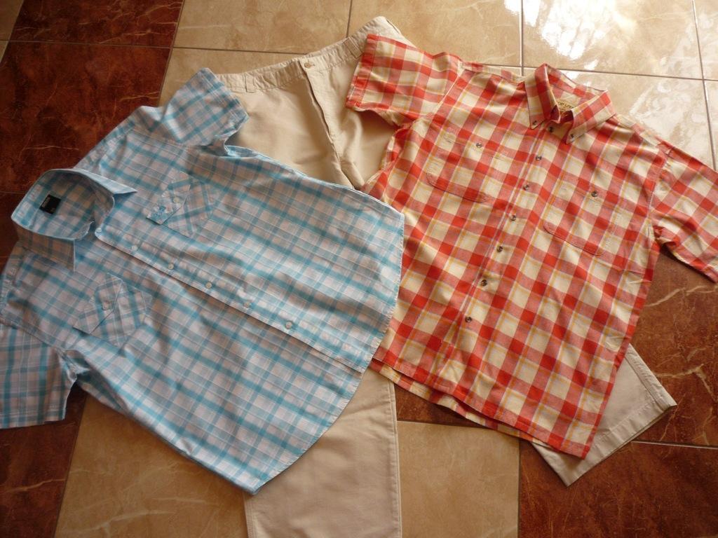 Spodnie na lato + 2 koszule pas 100 cm