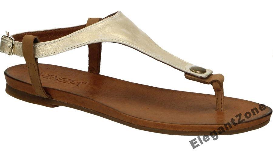 VENEZIA nowe sandały japonki złote skórzane 38