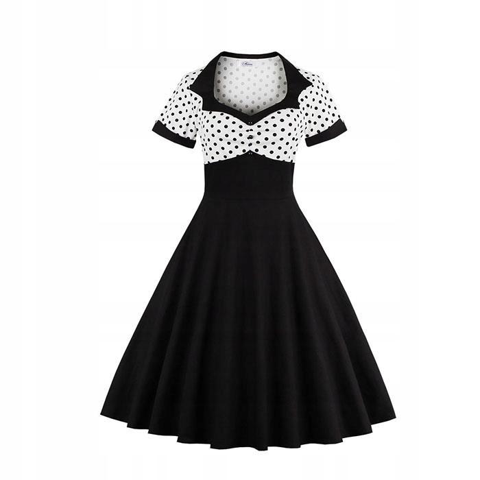 sukienka lata 50 te biała w grochy retro 48 24H
