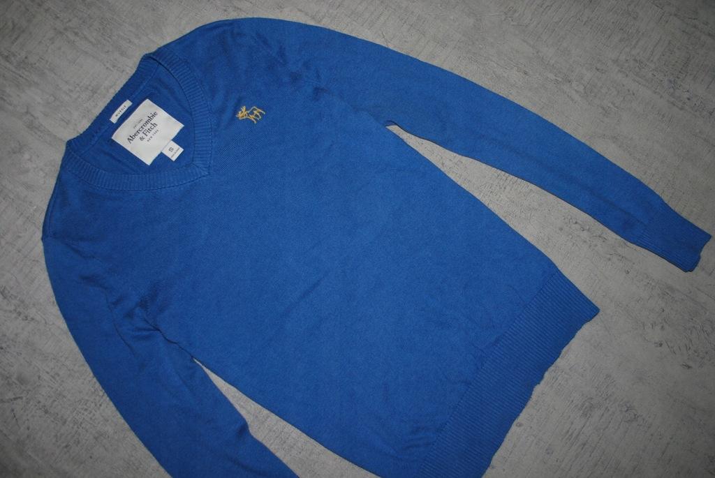 ABERCROMBIE & FITCH__niebieski sweter__logo__S