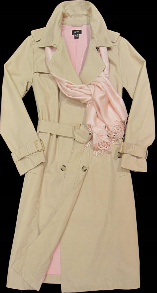 Płaszcz wiosenny jesienny trencz H&M 38 M kaptur beżowy