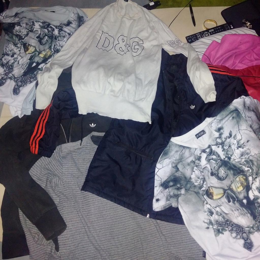 adidas kurtka,bluza, d&g,2 koszulki,hugo boss,