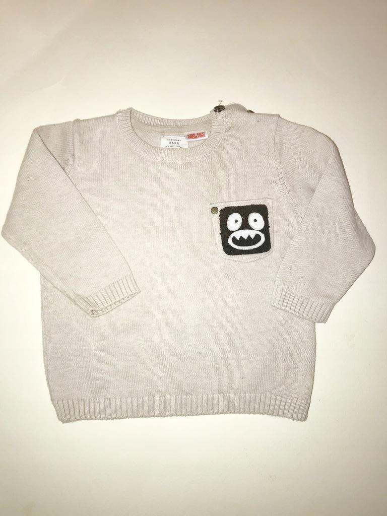 ZARA sweter 9-12 miesięcy 80cm z naszywką