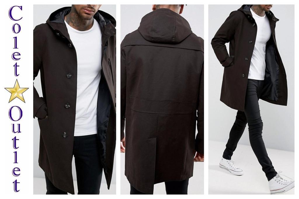 mo90 kurtka męska płaszcz czarna kaptur S