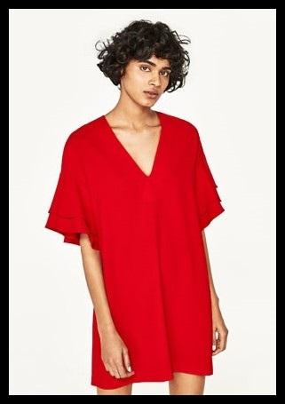 zara sukienki z falbankami czerwona