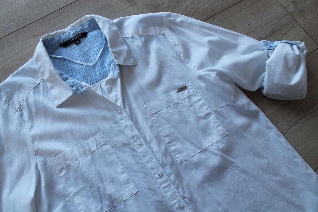 RESERVED biała bawełniana koszula 40 roll up 7418167755  FVkpa