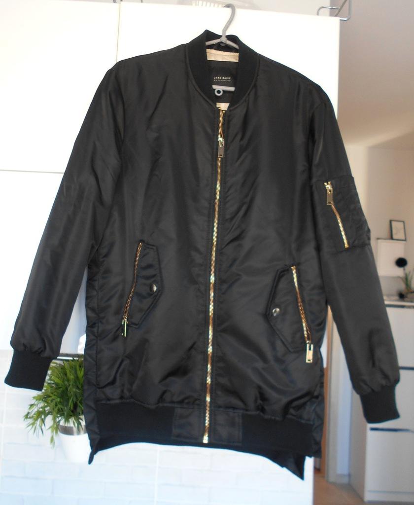 Zara kurtka długa bomberka bomber czarna złote zip