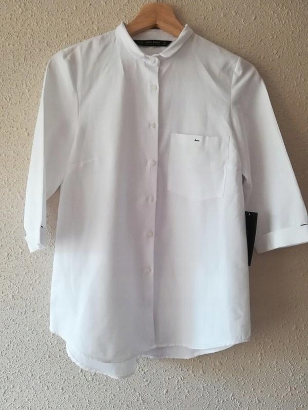 ZARA śnieżnobiała koszula, rękaw 34, rozcięcie 7579150178  DM1sW