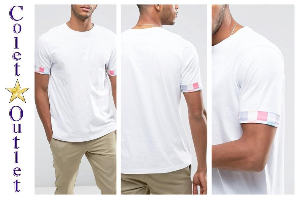 ms11 t shirt męski biały kratka pastelowa L