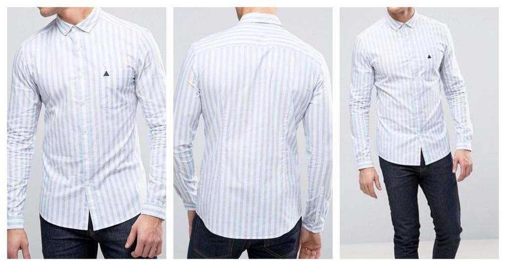 koszula męska casual slim fit paski guziki M