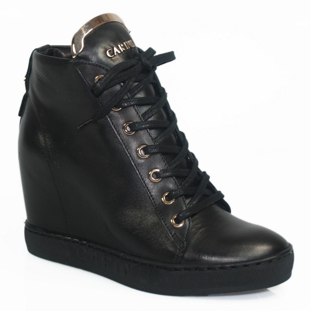 CARINII B4078 sneakersy botki czarne skóra lico 36