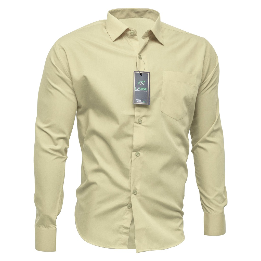 4243 Koszula Męska KREMOWA Długi Rękaw HIT Bawełn  vN2vt