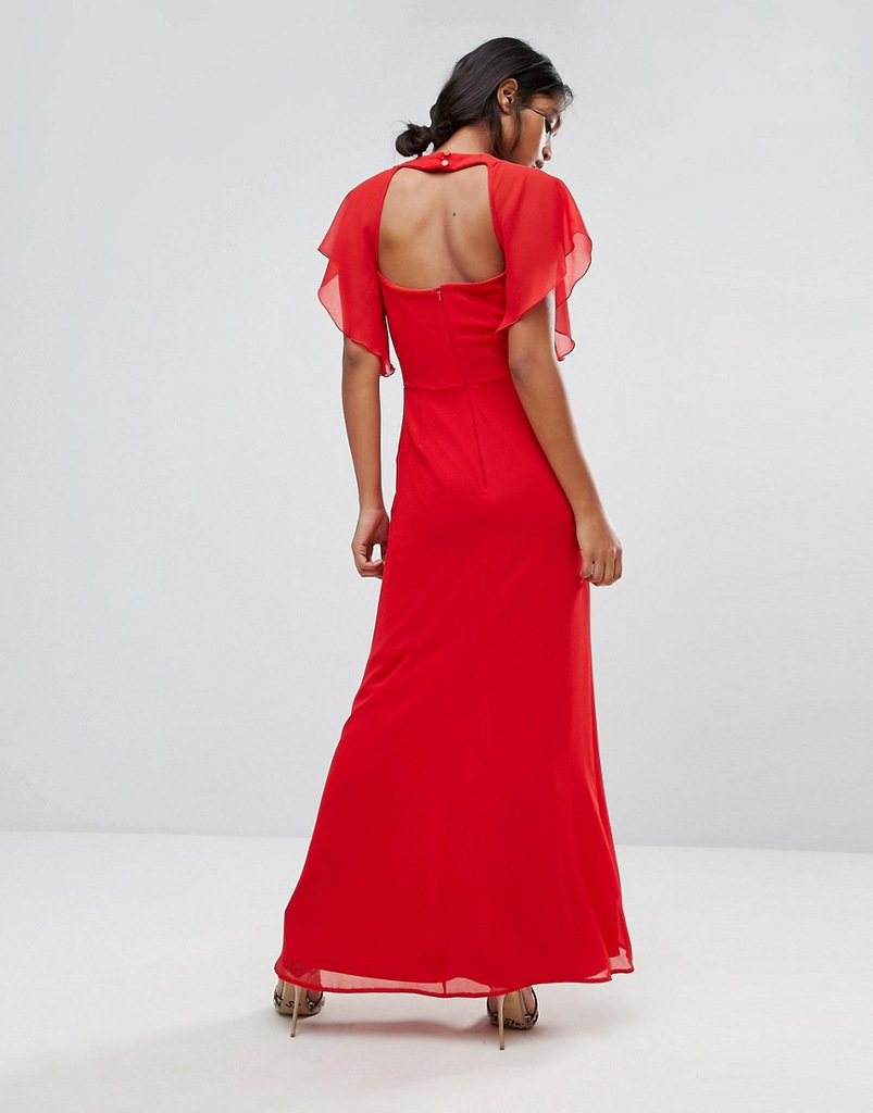 MAXI SPÓDNICA ELISE bordowa Sukienki