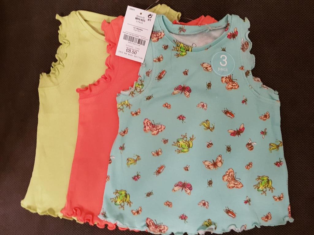 NEXT koszulki 3pak NOWE 86 12-18m kolorowe