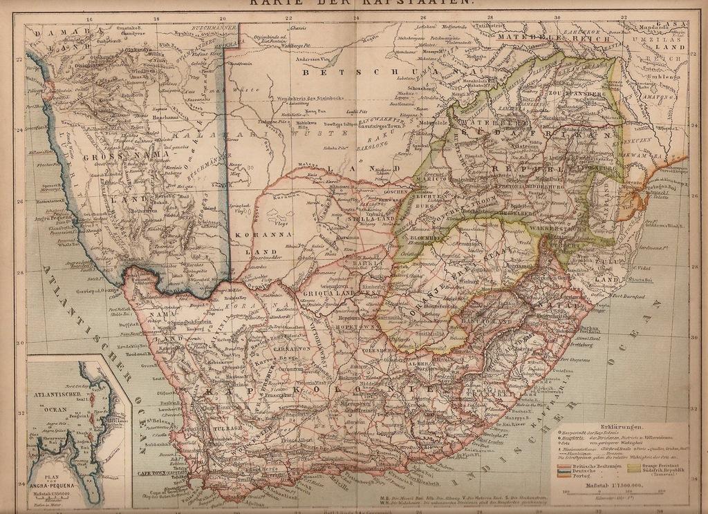 KAPSZTAD ORANIA NAMIBIA BOSTWANA ROK 1884