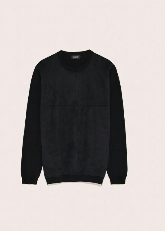 SWETER męski M L bluza ZARA zamsz czarny