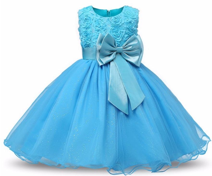Elegancka sukienka niebieska róże 3D wesele 80 86