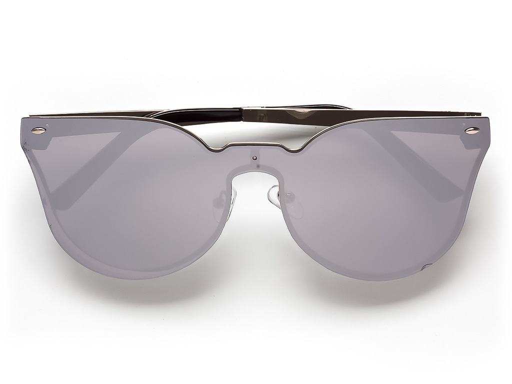 Okulary przeciwsłoneczne typu cat eye ze srebrną aplikacją