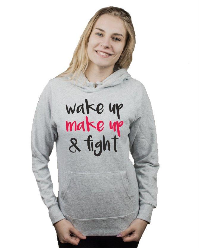 Bluza damska kangur WAKE UP MAKE UP FIGHT S 7148771283