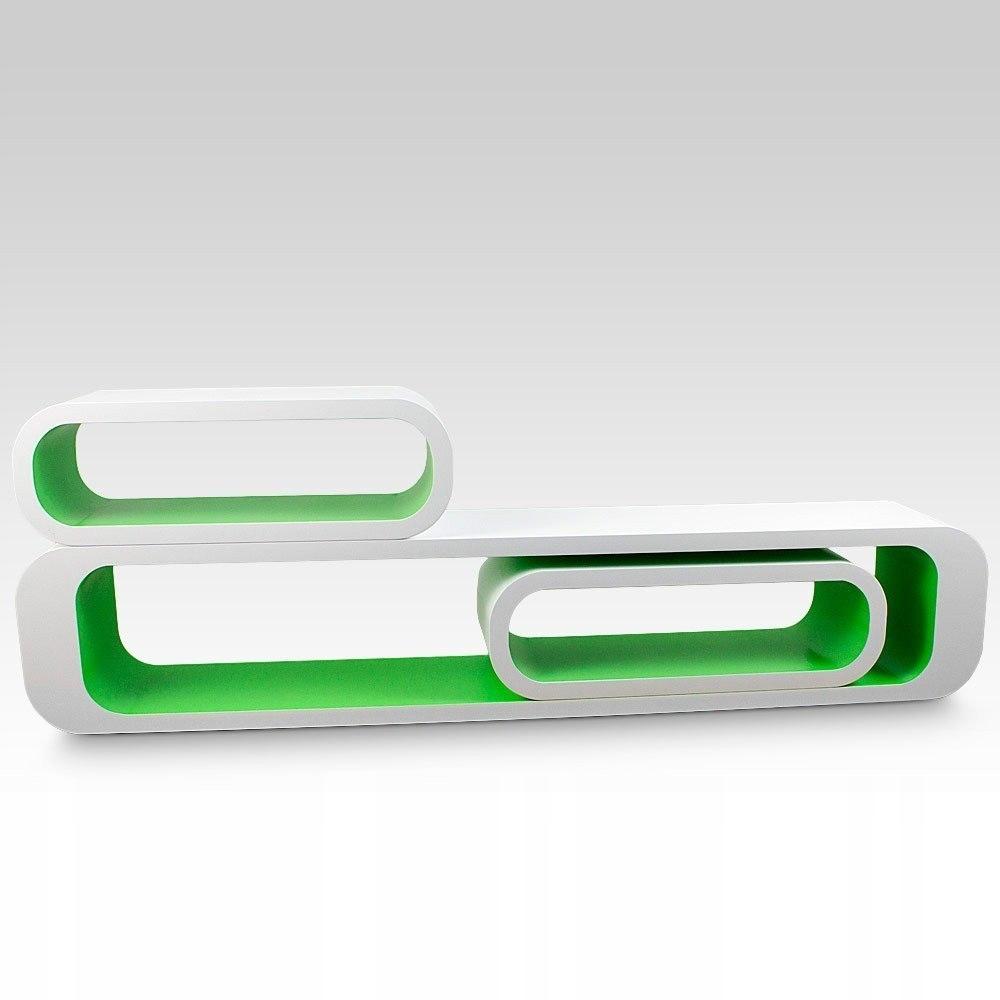 REGAŁ TRZY CZĘŚCIOWY biało - zielony (owalny)