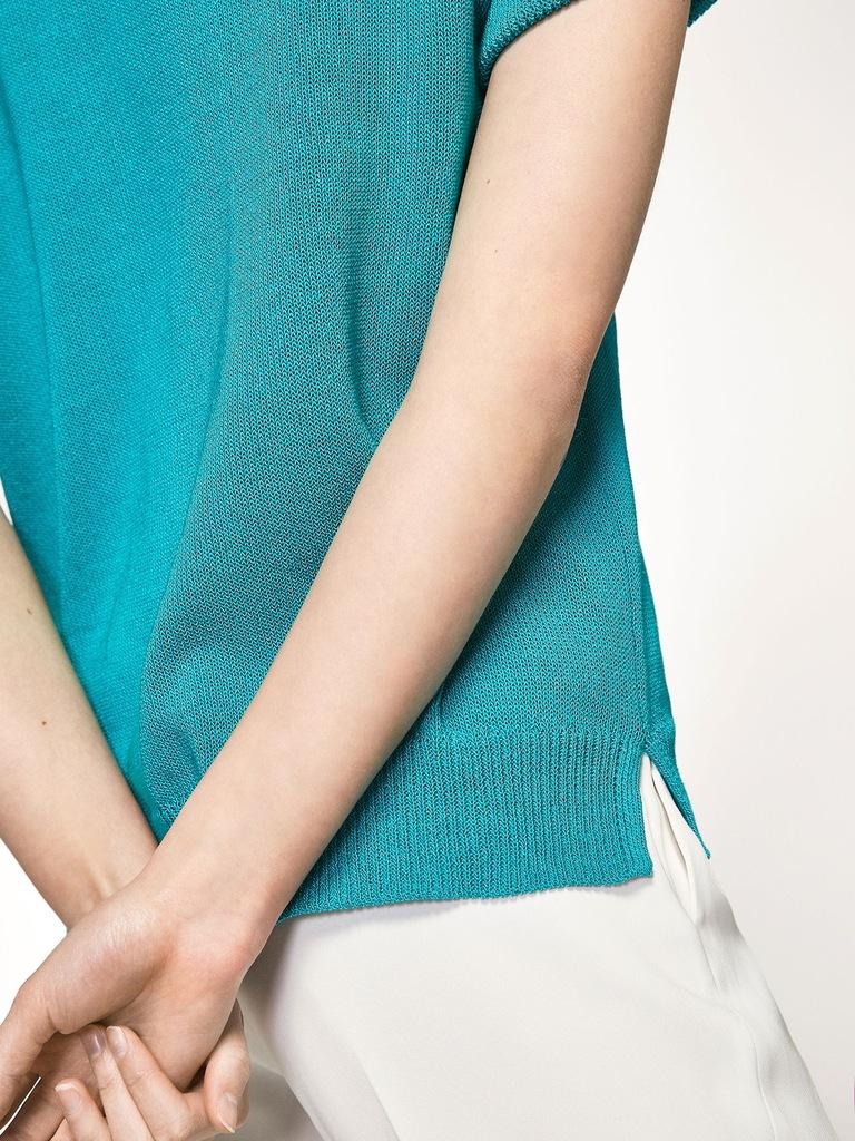 MASSIMO D Turkusowy sweter krótki rękaw (XS) 7224023737