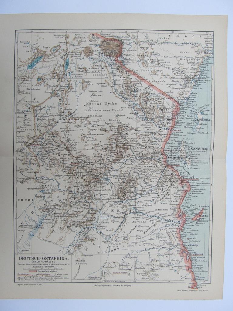 AFRYKA NIEMIECKA AFRYKA WSCHODNIA mapa 1897 r.