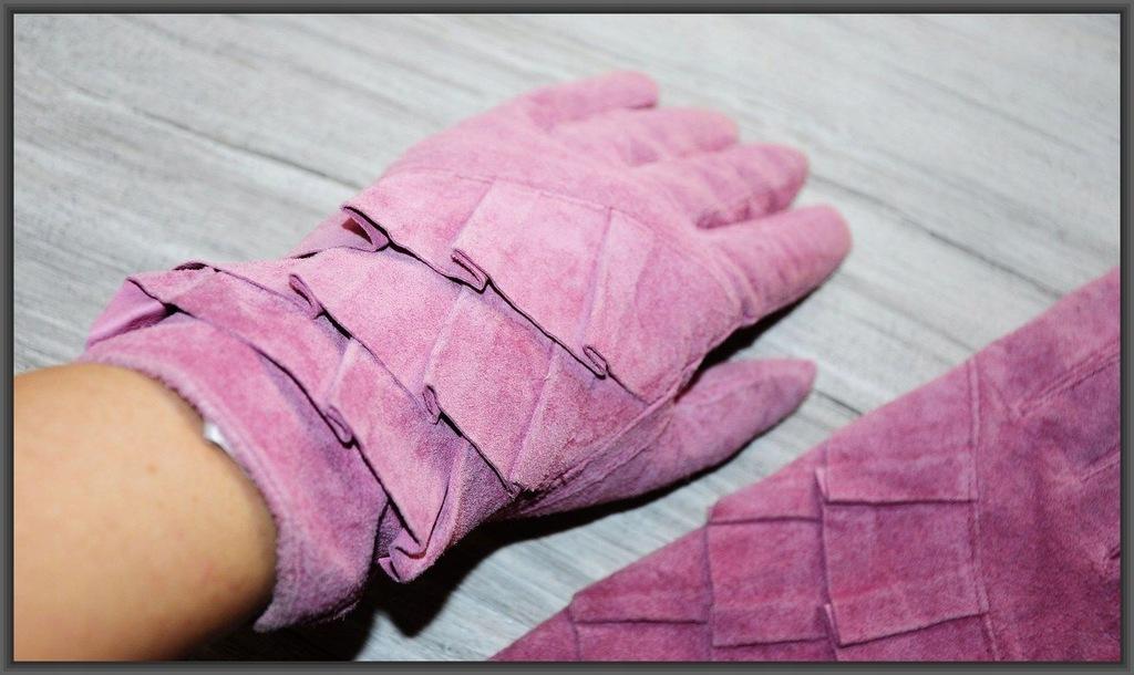 H&M rękawiczki skóRa naturalna RÓŻOWE skórzane