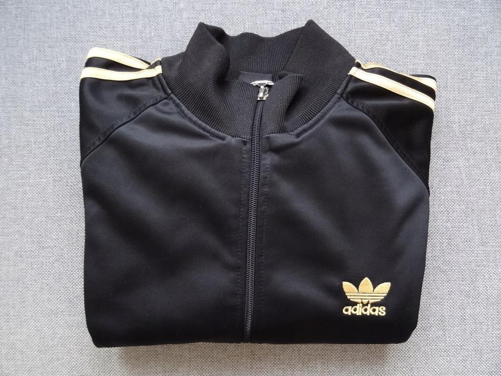 bluza czarna zloty nadruk adidas