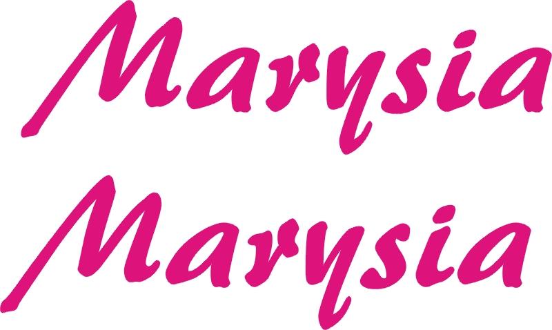 Imię MARYSIA 2szt naklejki RÓŻNE KOLORY
