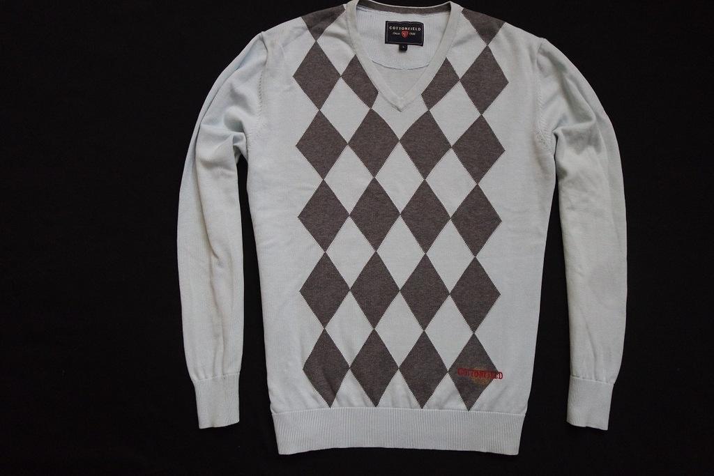 COTTONFIELD sweter sweterek niebieski logowany___M