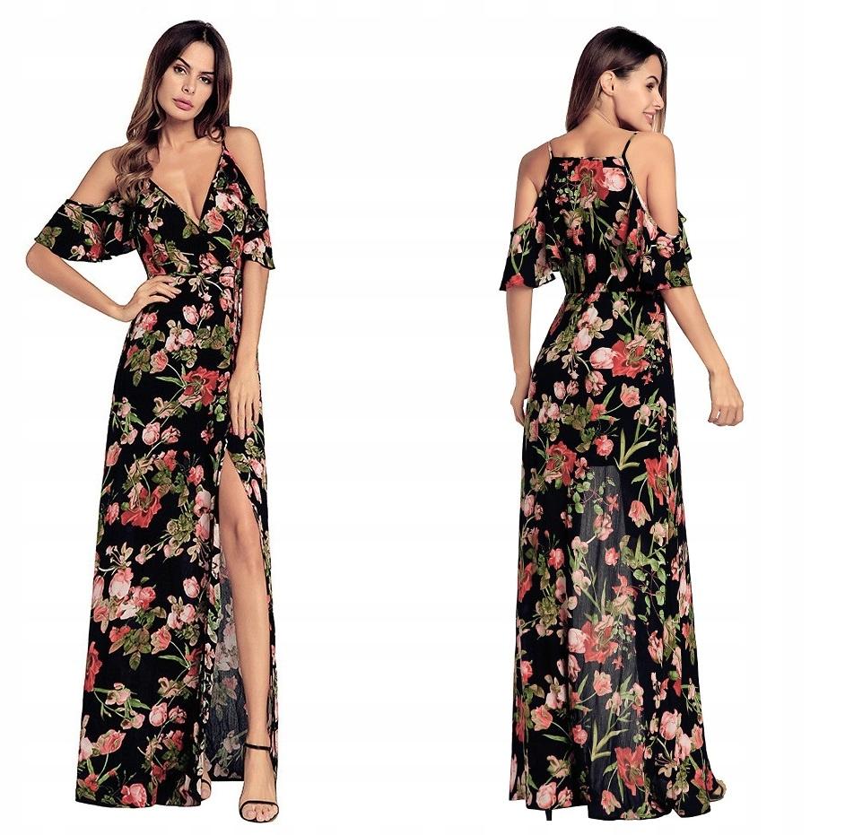 Sukienka Maxi Dluga Z Rozporkiem W Kwiaty M 38 7336060969 Oficjalne Archiwum Allegro
