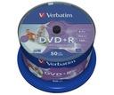 VERBATIM DVD+R 4,7GB PRINTABLE cake 50 sztuk NO ID