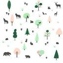 Naklejka ścienna drzewa las zwierzęta dla dziecka