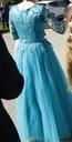 Długa, tiulowa suknia w kolorze turkusowym Kolor niebieski