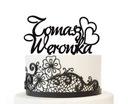 Imienna dekoracja na tort topper weselny imiona