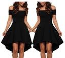 Sukienka rozkloszowana koktajlowa czarna 346 36-46