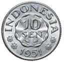Indonezja - moneta - 10 Sen 1951