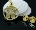 pozłacany komplet biżuterii z misiem