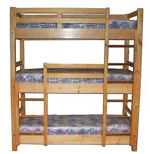 łóżko Piętrowe Dziecięce 3 Osobowe Materace 190x80